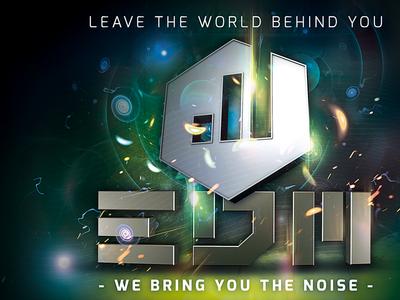 EDM Club Festival Flyer flyer poster edm electronic progressive electro green blue 3d event party