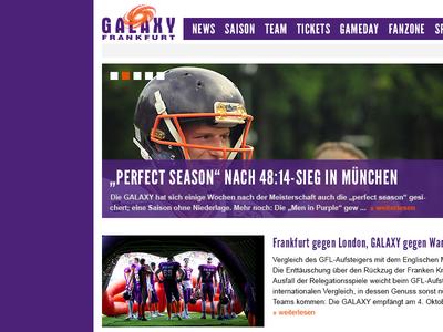 Frankfurt Galaxy Redesign Proposal webdesign frankfurt galaxy concept sports screendesign orange purple proposal redesign football galaxy frankfurt