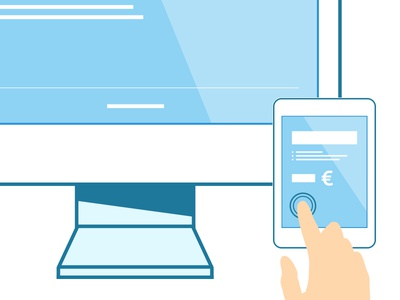 Device Illustrations minimal white blue monitor tablet device illustration