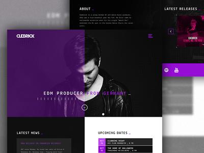 Cuebrick EDM Artist Webdesign Concept contrast typewriter concept grid cuebrick edm music deejay dj purple black white