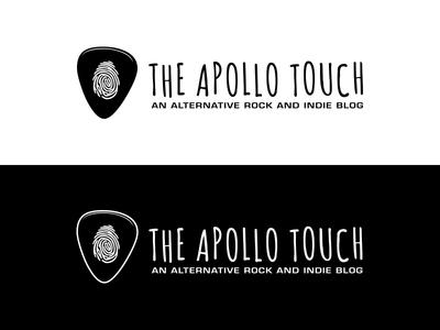 The Apollo Touch Logo fingerprint concert guitar plectrum white black indie alternative rock logo blog music