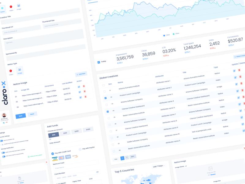 Claroox UI Elements admin design creative 2020 dashboard ui claroox ui element ui