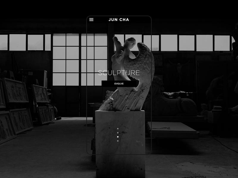 Jun Cha - Home page blackandwhite artist tattoo dark sculpture ux webdevelopment webdesign