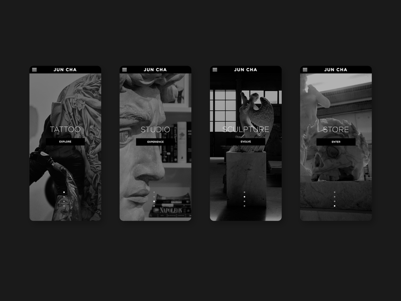 Jun Cha - home page ux dark greyscale blackandwhite artist webdevelopment webdesign