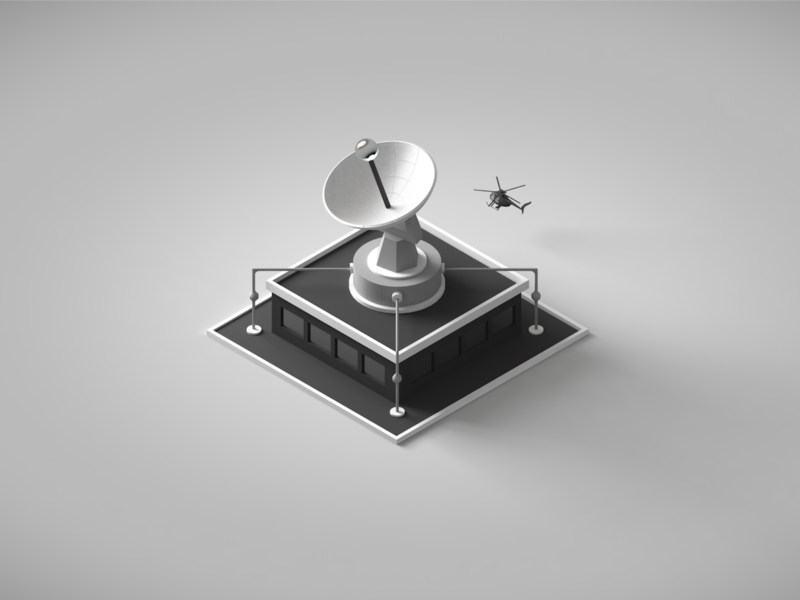 NorCal Cannabis - Business Intelligence surveillance lowpoly cannabis helicopter dish cia intelligence business c4d 3d illustration isometric