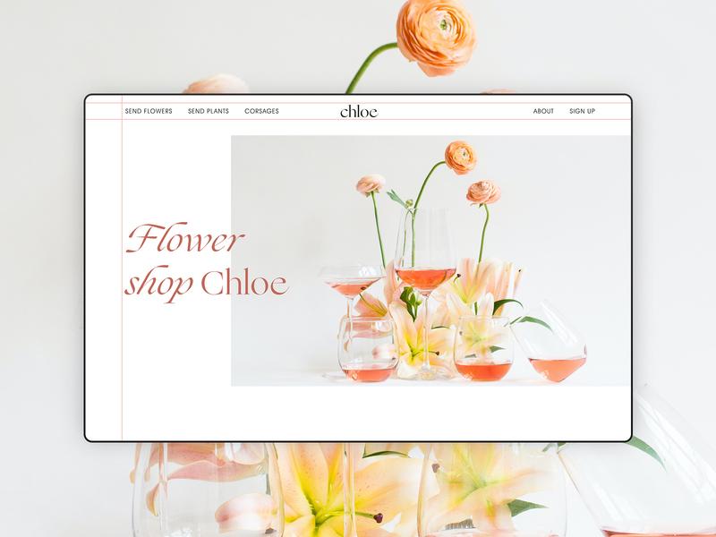 Flower shop art website minimal ux ui web typography design
