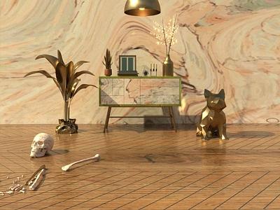 Living Room skull dog living room 3d cinema 4d