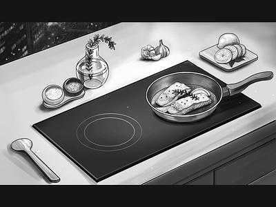 Kitchen campaign modern night food kitchen inductioncooker bw branding artoftheday illustration concept wacom tablet photoshop