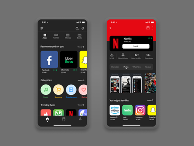 Playstore for IOS - Dark mode night mode dark theme dark mode uxui uxdesign uidesign mobileui iphone mobile app design mobile ui ios inspiration appdesign appstore playstore