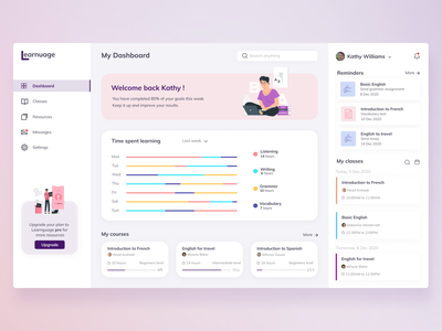 Language learning dashboard uxdesign uidesign inspiration language dashboardux language learning dashboard ui dashboard design dashboad