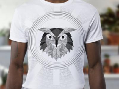 Owl illlustration line geometric