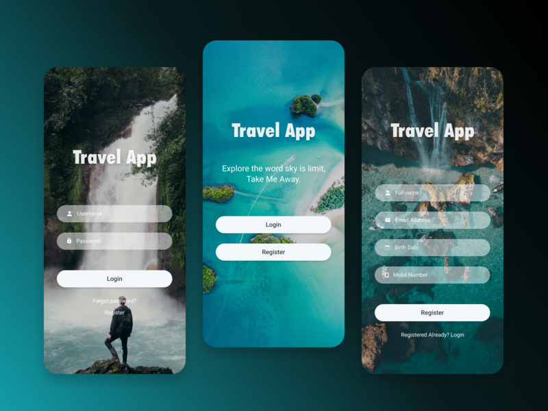 Travel App welcome register login design ux ui app