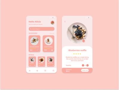 Dessert Delivery App clean pink dessert food