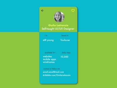 Fun Profile Page #DailyUI 006 illustrator app ux ui