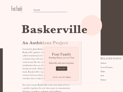 Pop-up overlay on Concept Web Page about Fonts composition typography overlay popup website design ux ui illustrator