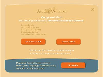 Receipt Website Jardin Culturel branding website design logo ux ui illustrator