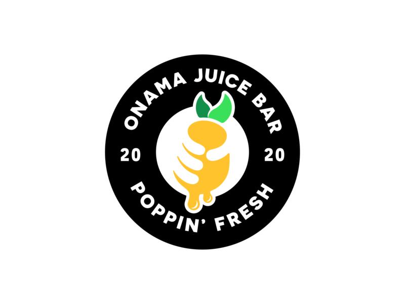 Onama Juice Bar   Logo Design tropical fruit first shot yellow logo hand logo negative space circle logo design illustration juice bar logo fruit logo emblem emblem logo logodesign logo