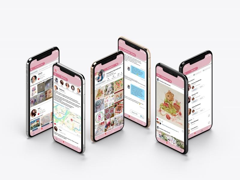 Мобильное приложение социальной сети вышивка социальная сеть мобильное приложение веб-дизайн uidesign ui  ux ui design design