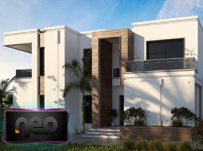 Realistic render of villa facade 3dsmax vray villa website app ux design ui 3d render facade