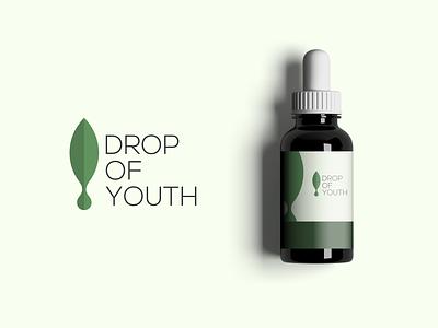 DROP  OF YOUTH green water leaf brand illustration app simple logo monogram logo icon flat branding app icon