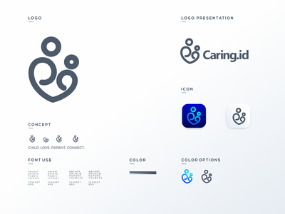 caring.id love family care brand illustration app simple logo monogram flat branding app icon logo icon