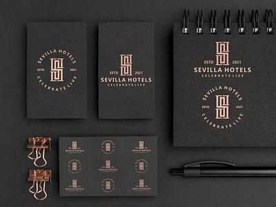 Sevilla Hotel logos brand clean hotels sevilla shlogo ui illustration design simple logo monogram flat branding app icon logo icon
