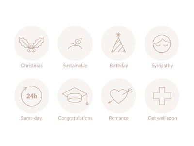 Bouquet types icons