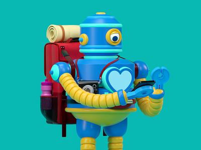 ROBOT illustration vector octane 3d c4d render character