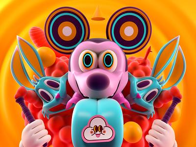 JUICE lsd bugs bunny warner bros disney mickey vector illustration octane 3d c4d render character