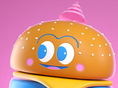BURGER burger food illustration vector octane 3d render character