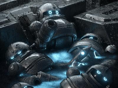 ROBOTS robot people illustration octane 3d render character