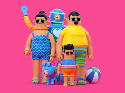 PLAYA otoy vacations beach people illustration octane c4d 3d render character