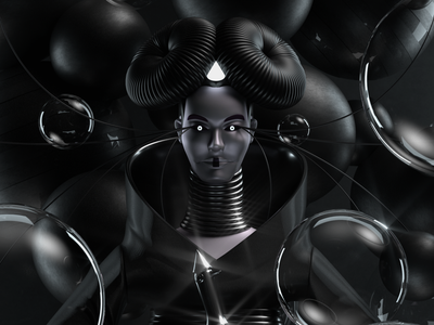 Björk dark music illustration octane c4d 3d render character
