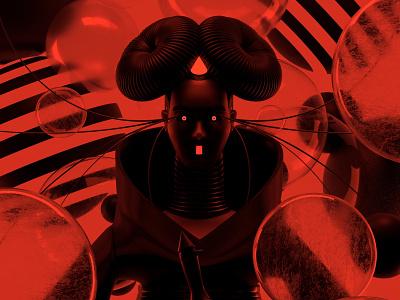 Björk dark red illustration octane c4d 3d render character