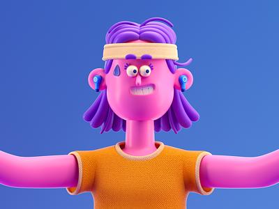 PERSONA yoga woman gym illustration octane c4d 3d render character