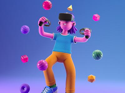 MUJER vr woman illustration octane c4d 3d render character