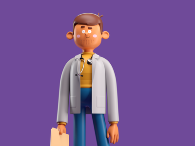DOCTOR vet doc doctor illustration octane 3d c4d render character