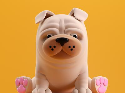 PERRO perro dog illustration octane 3d c4d render character
