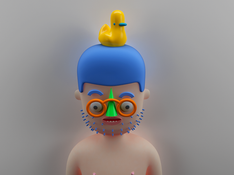 Persona man duck character render persona pato naked blue