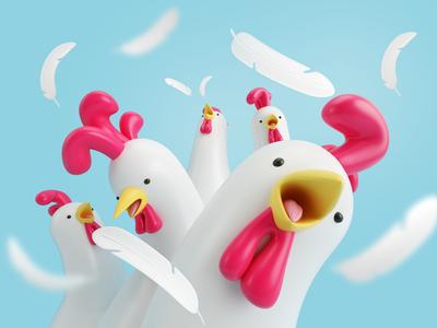 GALLOS! render 3d character group roaster chicken gallos