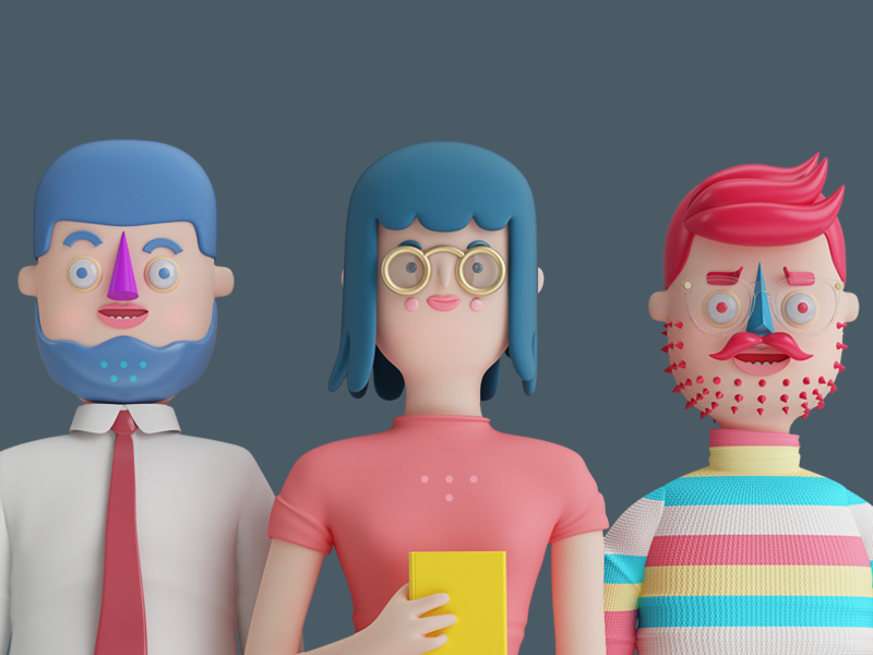 PEOPLE!!! render 3d characters woman man people