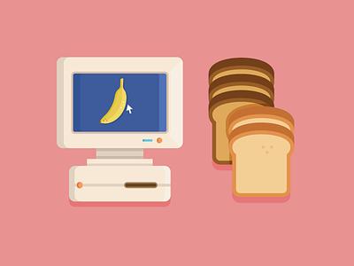 COMPUTER & BANANA bread pan banana platano vector icon computer