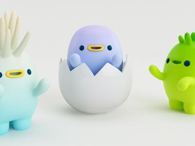 PERSONITAS! render 3d people egg gente persona monster