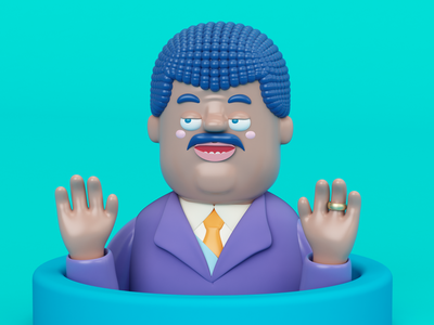 Neil deGrasse Tyson gente ring gold 3d render character persona