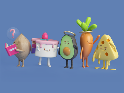 FOOD characters render queso chessee carrot avocado aguacate cake wallnut