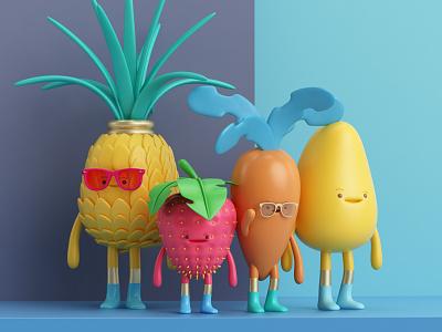 COMIDA carrot render character mango fresa pineapple fruit food