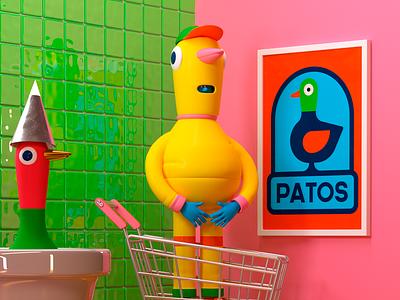 PATOS! c4d octane 3d pato duck character