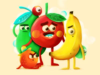 Las frutas! cool adobe banana pera psd characters apple