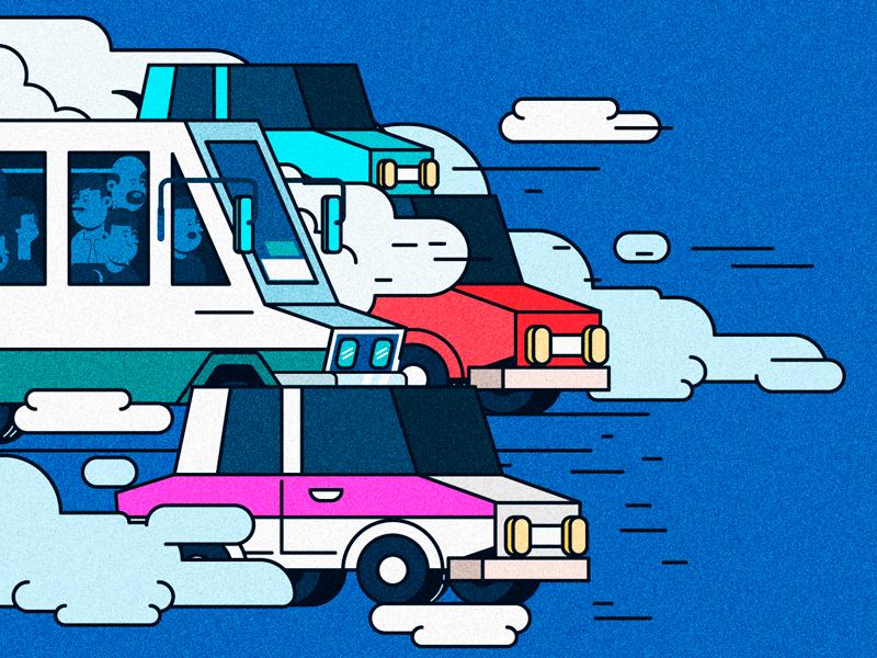 AUTOS car taxi race illustrator noise vector
