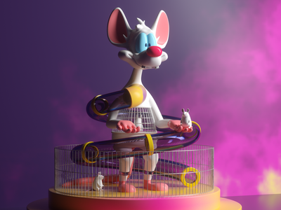 Pinky cool rat ratón mouse octane c4d render character wb pinky